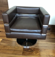 2 x chocolate leather chairs