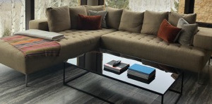 B&B Italia black glass coffee table