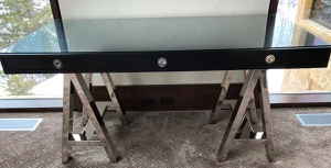 Black glass top desk with chrome legs