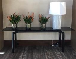 B&B Italia Ebony Wood  and Black Glass Side Table (Not Lamp)