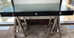 Black glass top desk with chrome legs