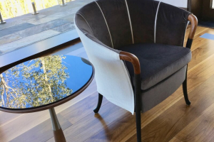 Glass and wood side table