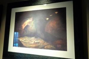202A Trout Print in Black Frame