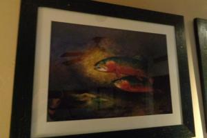 202B Trout Print in Black Frame