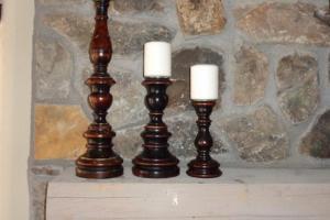 224 Set of 3 Wood Candleholders
