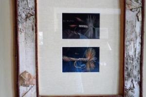 176B Pair Birch Framed Fly Prints